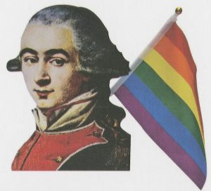 Marquis de Lafayette with rainbow flag